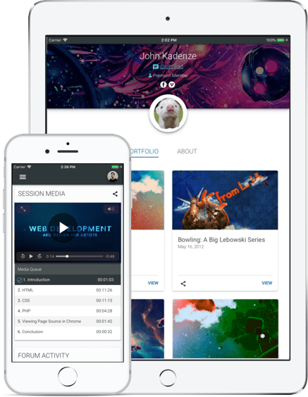 Overview of Kadenze Mobile App on iPhone and iPad screen
