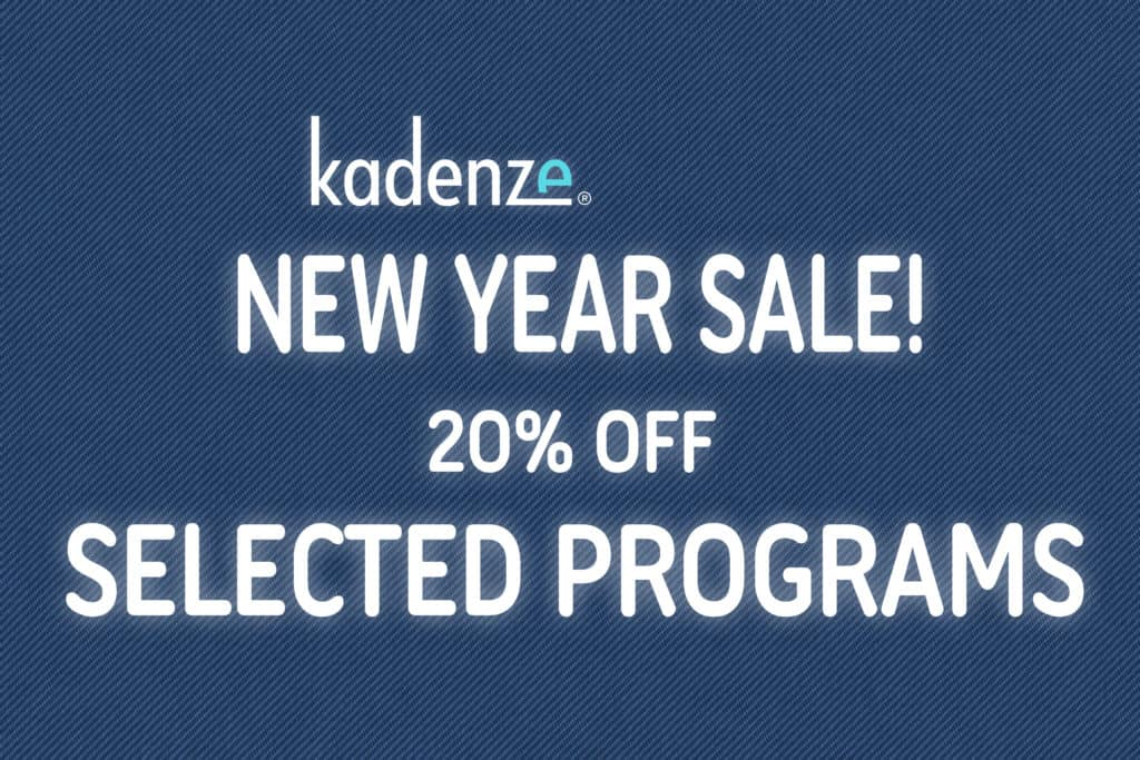 Blue blackground with white font saying kadenze New Year Sale! 20% Off Selected Programs.